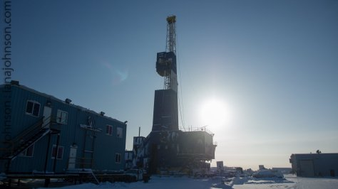A drilling rig on Prudhoe Bay. These rigs are completely mobile and once the well is drilled they put s small derrick over top of it to pump the oil.