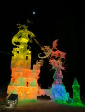 Dragons assaulting a castle. This sculpture is well over 12 feet tall!