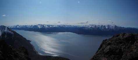 A panorama from Rainbow Peak between Anchorage and Alaska. The peak climbs to about 3500 feet and overlooks the Turnagain Arm Fjord.