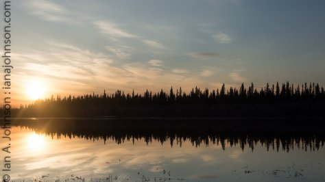 The sunset on a beautiful evening in Fort Yukon. It will not be long before the sun doesn't set at all!