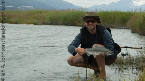 Fishing success! This pink salmon was drug from the stream running into the original Valdez.