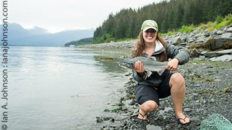 Kass with her first Alaskan Salmon!