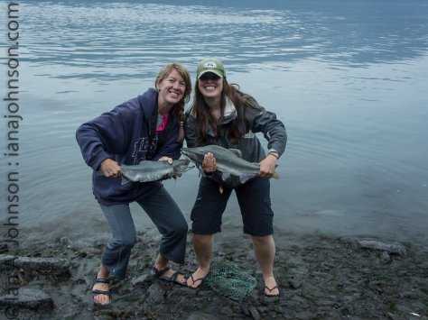 Kassie and Jenny pose with a gorgeous pair of pink salmon caught out of Valdez bay.