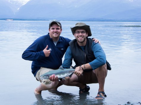 The thumbs up and fish say it all. A great trip to Valdez!