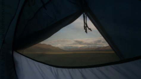 In the shelter of our tent we could still enjoy the sunset over the foothills north of the Brooks Range. It was pretty amazing!