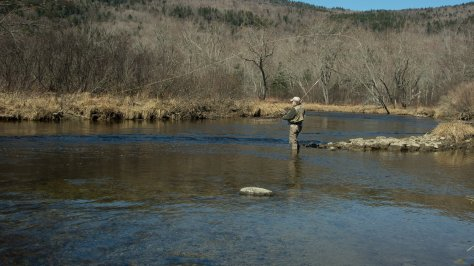 Kevin works on slinging a cast to the far bank of a pool. A beautiful day to catch no fish!