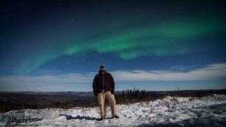 Dave rocking under a rockin' aurora :)