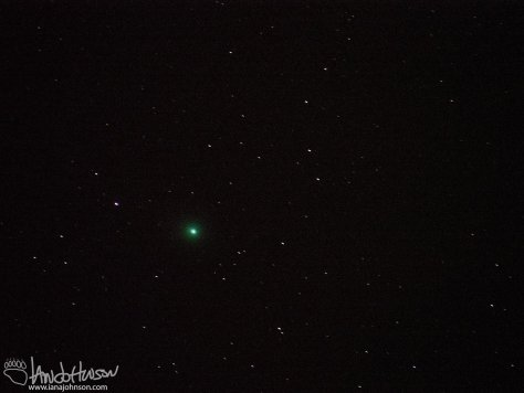 This image of Comet Lovejoy was taken at 286 mm. It starts to give you a pretty good idea of the green halo/fuzz which surrounds the comet. f/5.6, ISO 2500, 3.2 sec