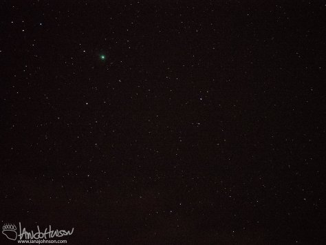 This images of Comet Lovejoy was taken at 100mm. f/4.0, ISO 3200, 3.2 seconds.