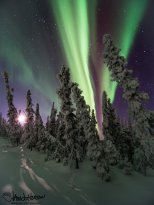 January 26th : Aurora borealis and a setting moon - images taken near -40 degrees!