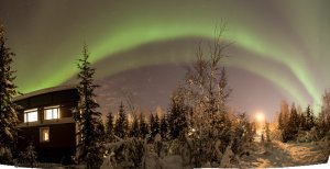 Sustainable Village Aurora Borealis Panorama