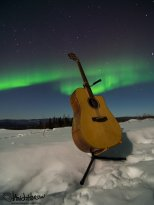 My trusty axe in front of the aurora!