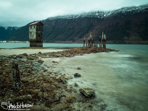 """This old mining building is a piece of the Treadwell mine of the late 1800s. In April 1917 this mine was flooded by a high tide, and """"questionable"""" mining practices (http://www.juneau.org/parkrec/facilities/documents/treadbroch1.pdf)"""