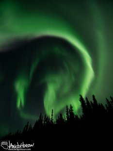 This particular auroral formation takes one last swirl before dissipating.