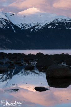 The mountains reflect off the inter-tidal area in Haines, Alaska.