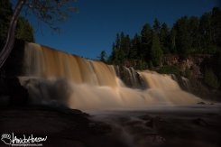 Middle Falls of Gooseberry State Park under the moonlight.