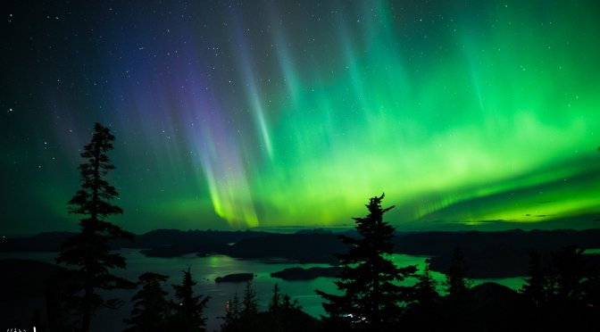 Aurora Borealis, Sitka Alaska, Harbor Mountain, Green Aurora, Purple Aurora, Ocean, Mountains