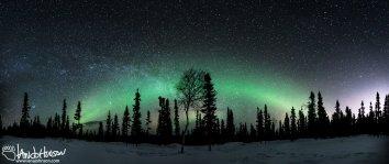 Milky Way Panorama Dog Sled Black Spruce Aurora Boeralis2