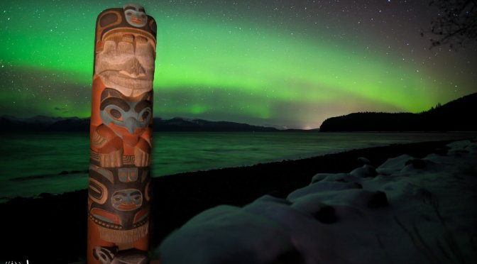 Aurora, Hoonah, Creative Photography, Alaska, Green, Ocean, Icy Strait, Mountains, Totem, Tlingit, Focus Stack