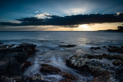 Sunset, Coral, Hawaii, rocks, lava, Kauai