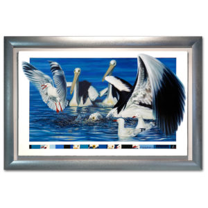 Pelicans Eyes on the seagulls original oil painting