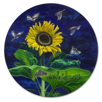 Seeds of desire, oil painting of sparrows, a sunflower art by Ian Anderson.