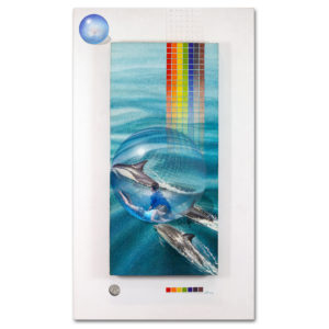 Rainbows end - A painting about imagination, playing and dolphins. A Zorb ball and a playful imagination