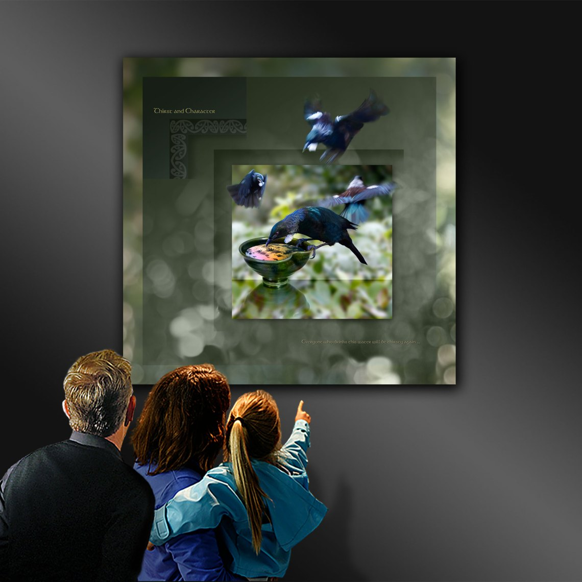 Digital photo artwork of the Tui bird, being viewed in an art gallery.