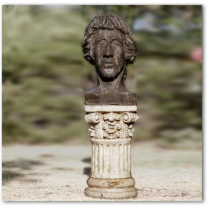 Brass brushed Concrete bust sculpture on a pedestal of Allan Anstee the poet minstrel in Perth Western Australia
