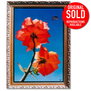 Red rose in full bloom oil painting on canvas