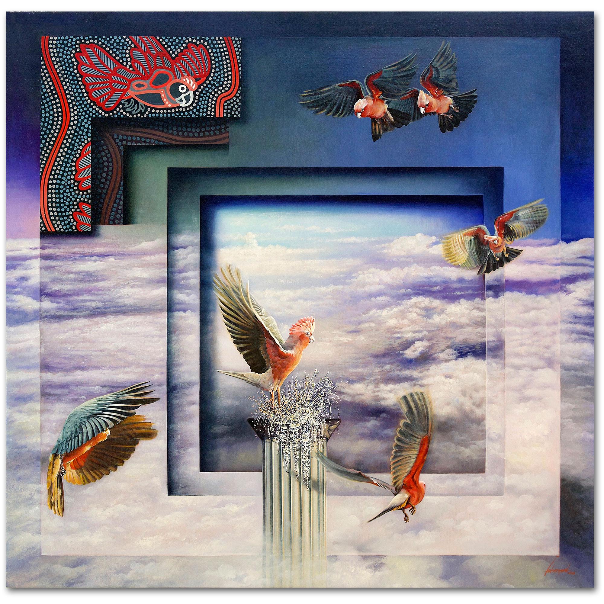Oil painting - Pink Galahs Joy - Indigenous art Gallery