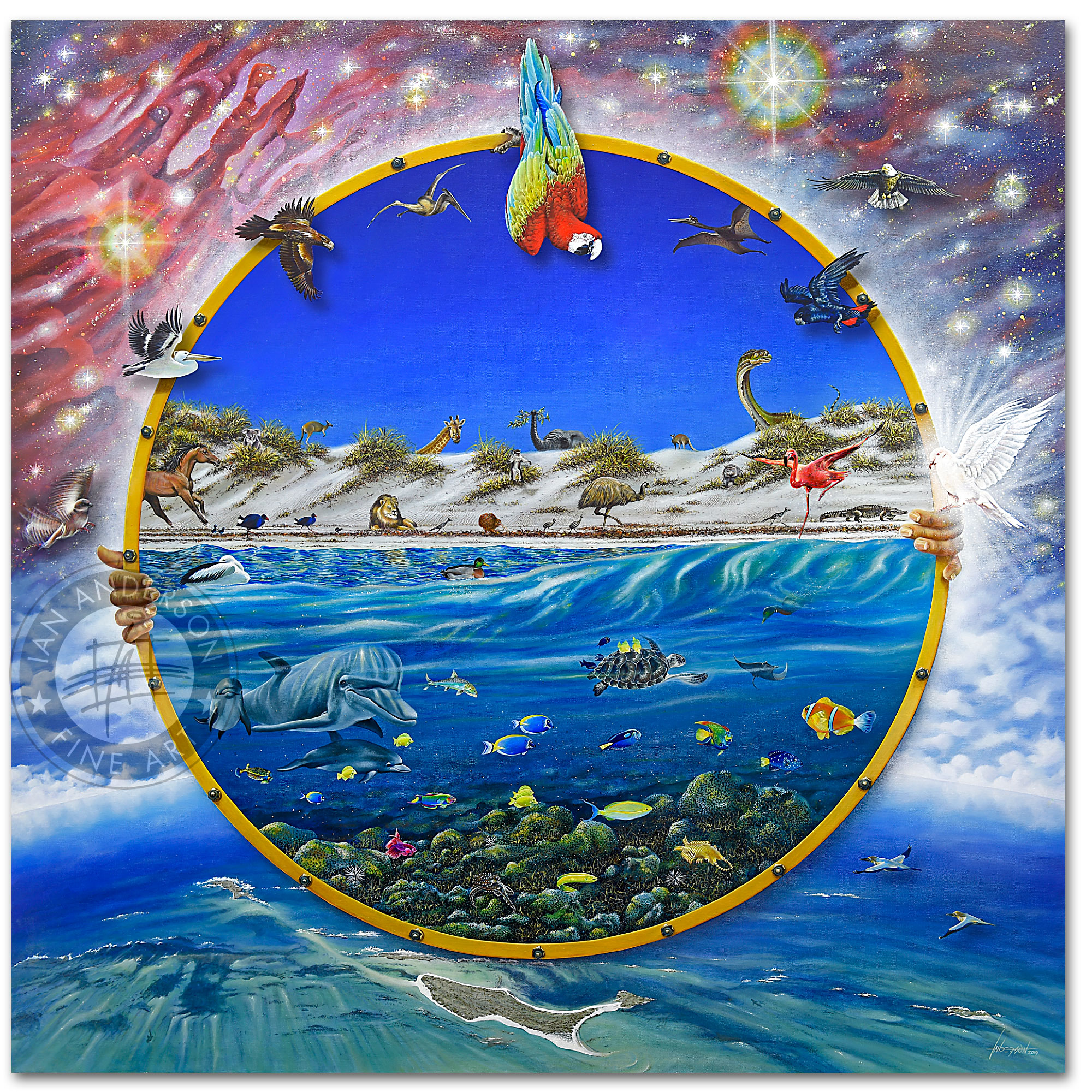 Dolphins universe animals birds - The Wonder of it All - Oil painting in gallery