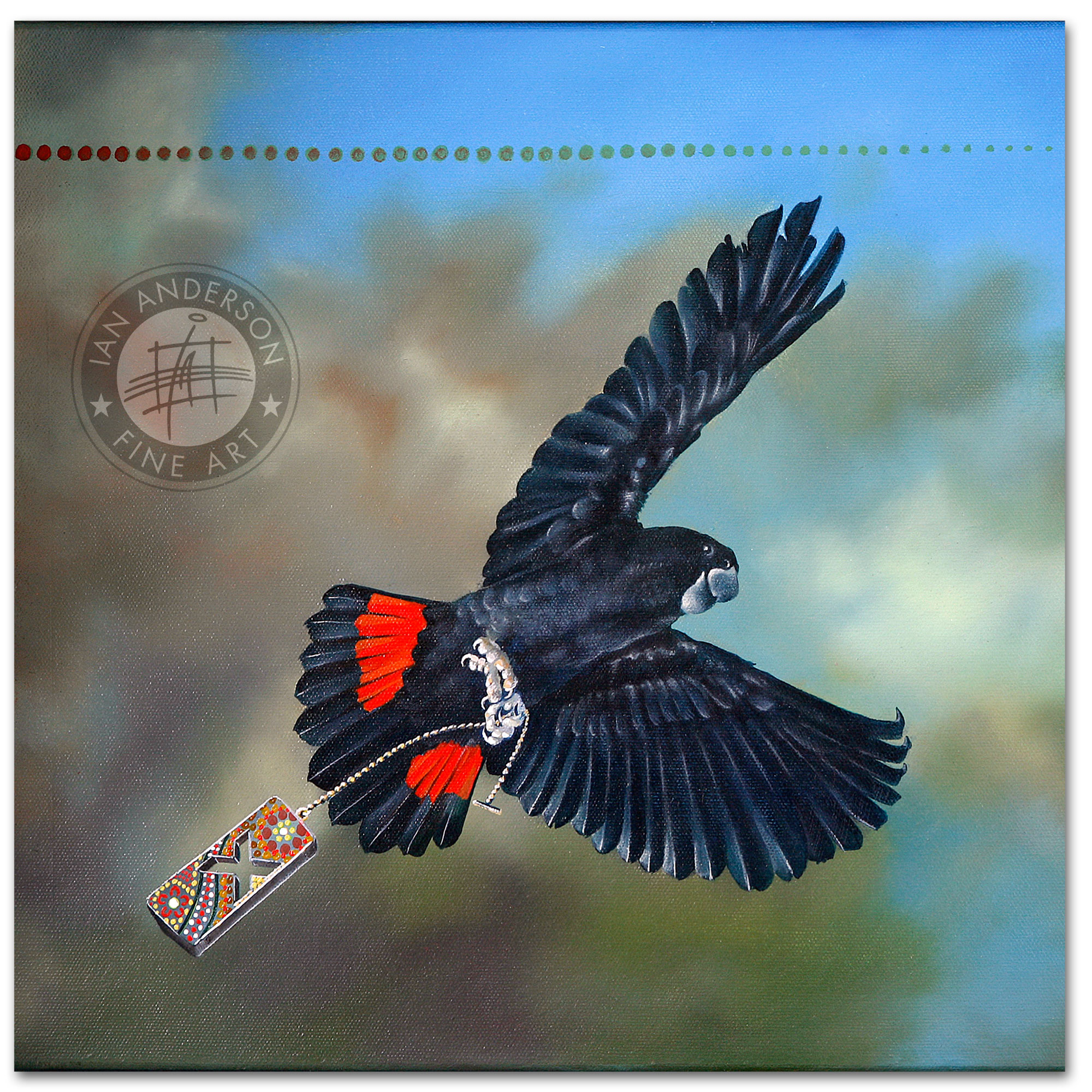 Red Tail Black Cockatoo indigenous close up 1 - Original Oil Painting on gesso primed canvas