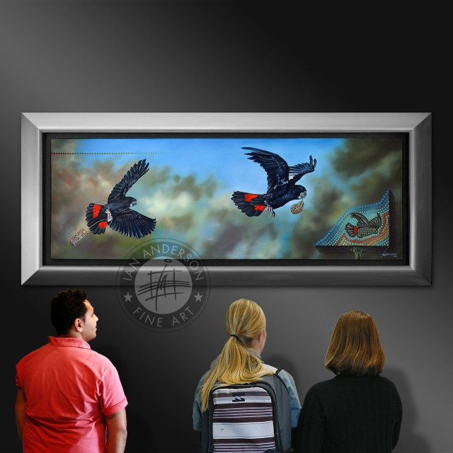 The pleasure of Red Tail Black Cockatoos oil painting- The Joy of Flight in and indigenous art in Australia