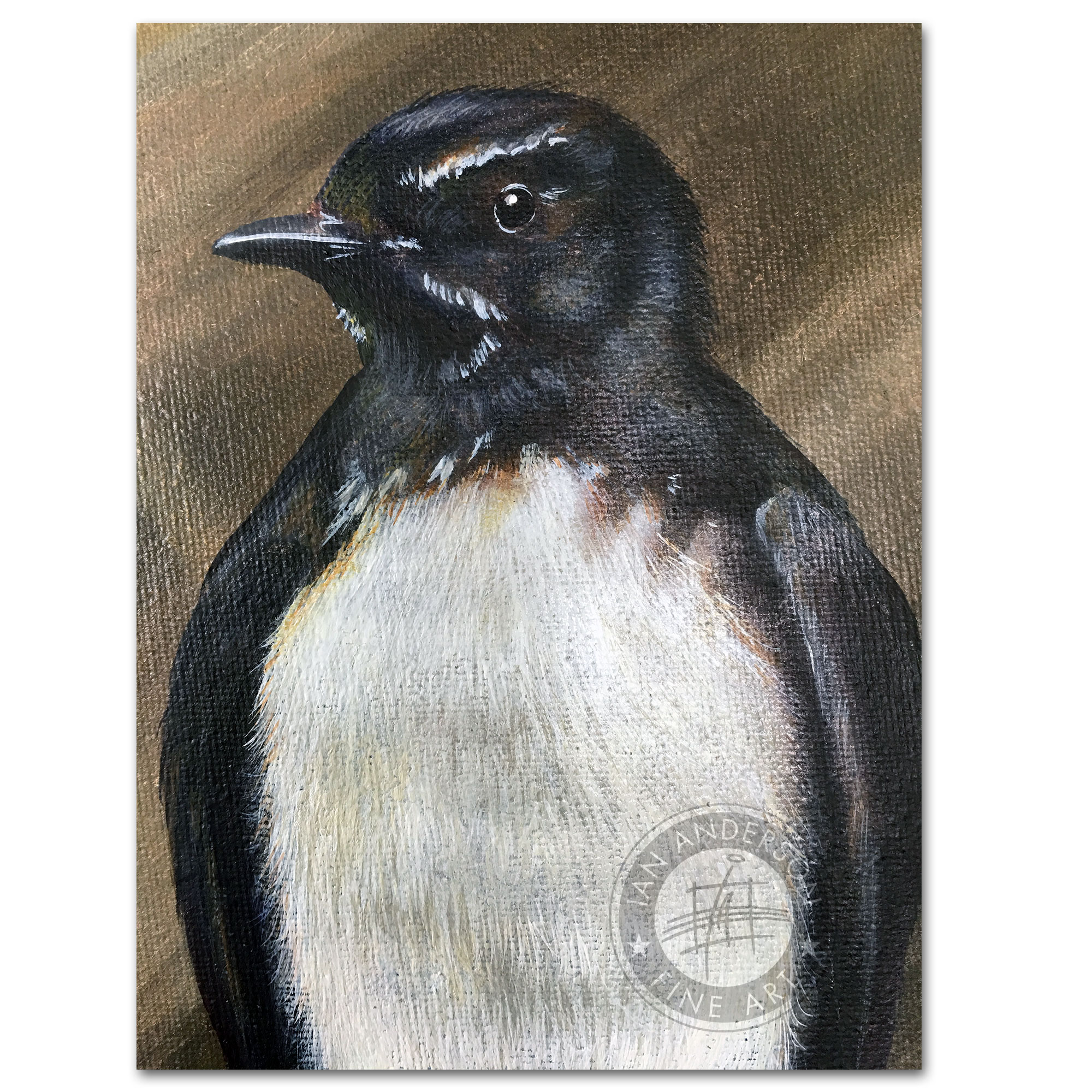 Willy Wagtail and its family story - Oil painting Australian wildlife