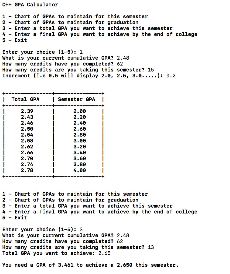 C++ Future Gpa Calculator
