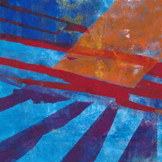 abstract monotype print blue, red and orange inspired by science fiction
