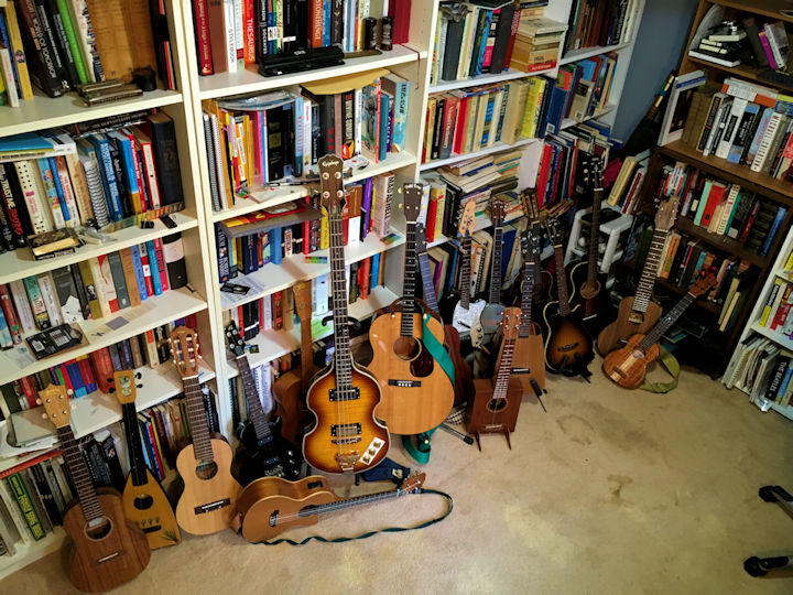 My current ukuleles and guitars.