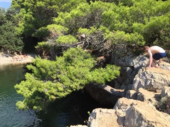 Сосна, нависающая над озером и любитель скалолазания