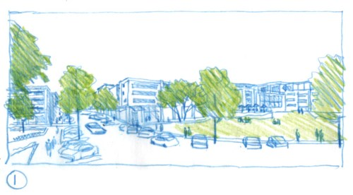 Village Green & Retail Concept Sketch 1