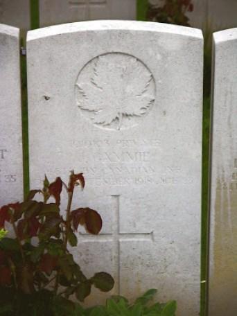 James Gammie gravestone, Bucquoy Road Cemetery, Arras, France