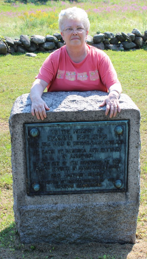 Ellen (Wagner) Hadden at the grave of her 7X Great Grandfather Edmond Faulkner