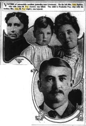 The auto accident victims as depicted in the July 3, 1915 edition of the San Francisco Chronicle