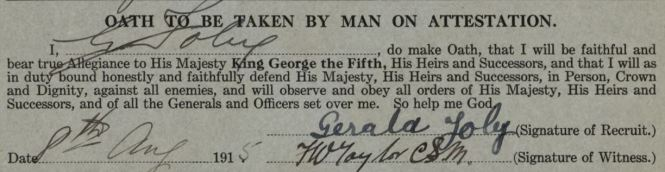 FOLEY Gerald WWI oath with signature 1915