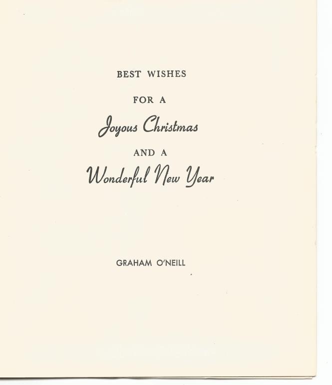 HADDEN Ian last Christmas card from grandfath J Graham O'Neill