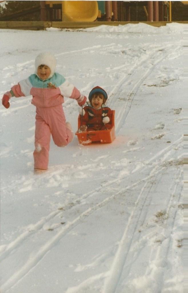 HADDEN Lisa and Jenna winter 1989-90 at park across from 552 Stonebridge Lane Pickering