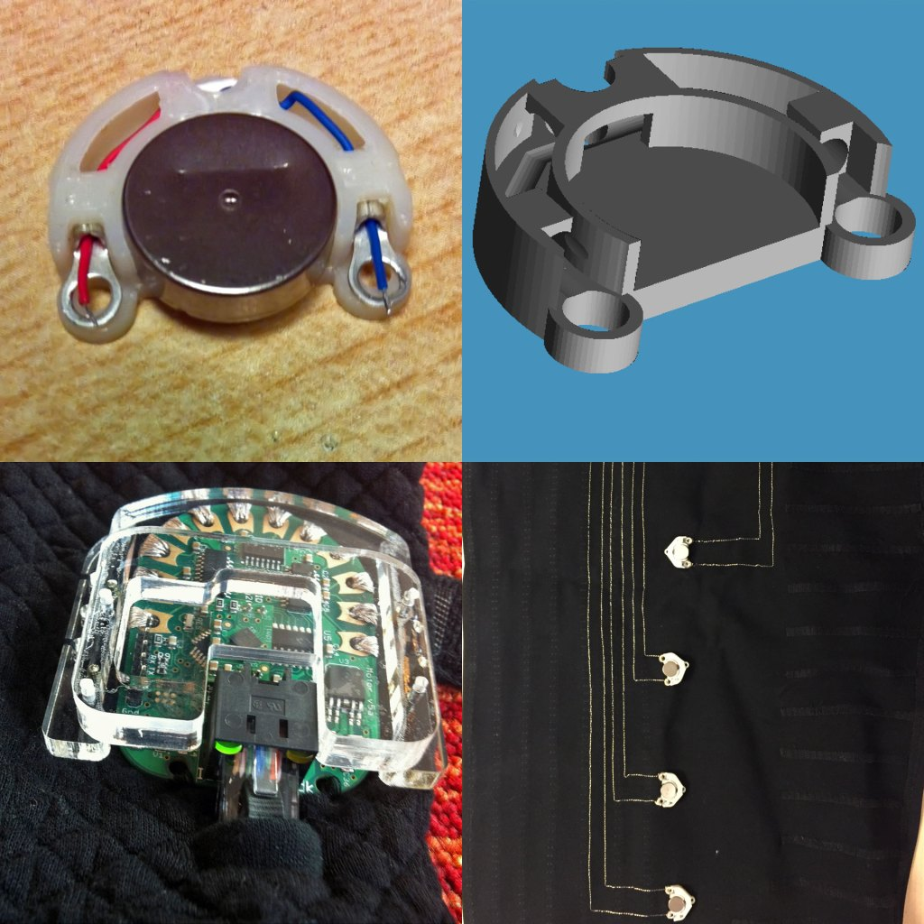 Pictures of the actuator housing, driver PCBs, and conductive thread used in the Ilinx garment.