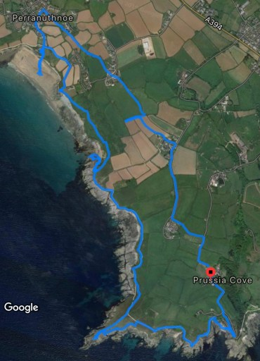 Route of walk 27 'Prussia Cove and Mount's Bay'