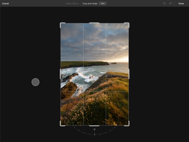 Cropping tool in Photoshop for iPad
