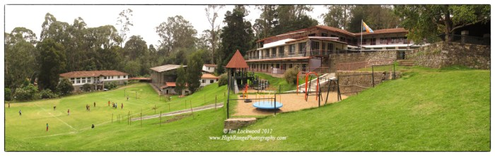 """THe Ganga Campus of KIS, site of the primary and middle schools. THe large area gives a sense of the """"old kodai""""- cool, spacious and green."""
